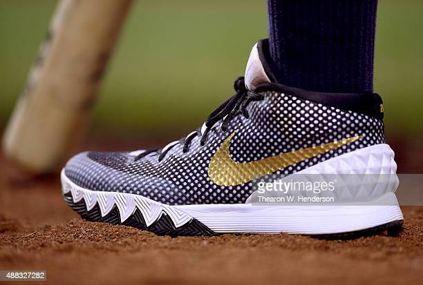 A detailed view to the baseball cleats worn by Yangervis Solarte of the San Diego Padres against the San Francisco Giants at ATT Park on September 11...
