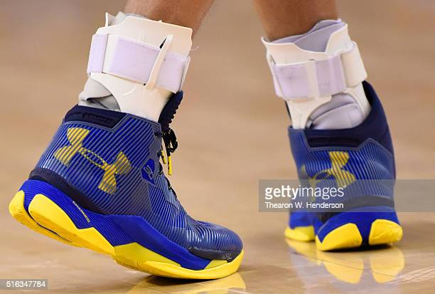 A detailed view to the Under Armour basketball shoes worn by Stephen Curry of the Golden State Warriors against the Portland Trail Blazers an NBA...