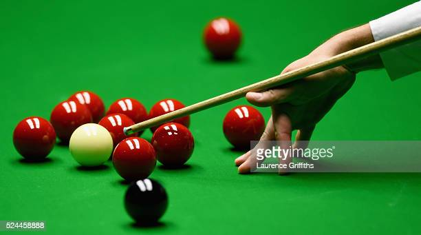 Detailed views of play on day eleven of the World Championship Snooker at Crucible Theatre on April 26 2016 in Sheffield England