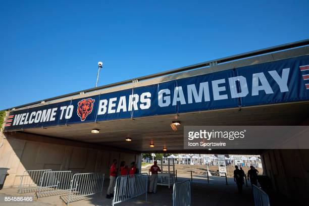 A detailed voew of a Chicago Bears Welcome to Bears Gameday banner is seen prior to an NFL football game between the Pittsburgh Steelers and the...