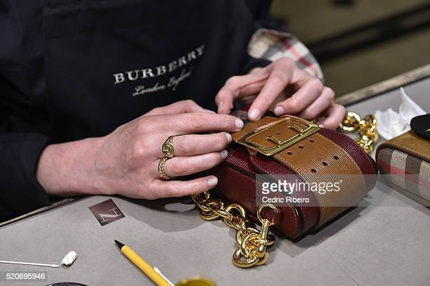 'DUBAI UNITED ARAB EMIRATES APRIL 12 Details are seen on a bag at the Burberry Art of the Trench Middle East event at Mall of the Emirates on April...