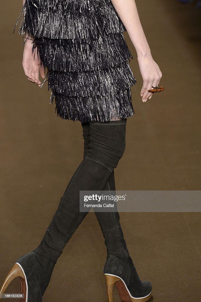 Details at the runway at Tufi Duek show at Sao Paulo Fashion Week Winter 2014 on October 28, 2013 in Sao Paulo, Brazil.