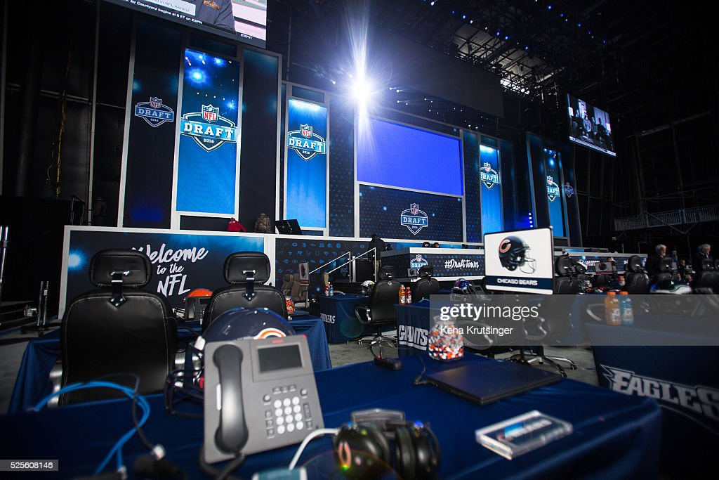 Details from inside Selection Square Stage at NFL Draft Town , prior to the start of the 2016 NFL Draft on April 28, 2016 in Chicago, Illinois.