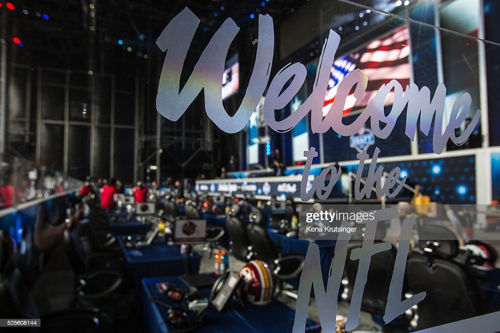 Details inside of the stage at the NFL Draft Town , prior to the start of the 2016 NFL Draft on April 28, 2016 in Chicago, Illinois.