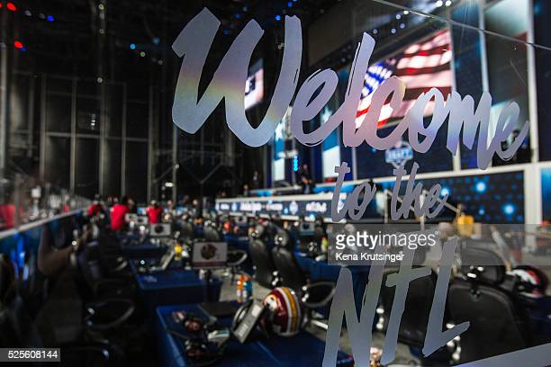 Details inside of the stage at the NFL Draft Town prior to the start of the 2016 NFL Draft on April 28 2016 in Chicago Illinois