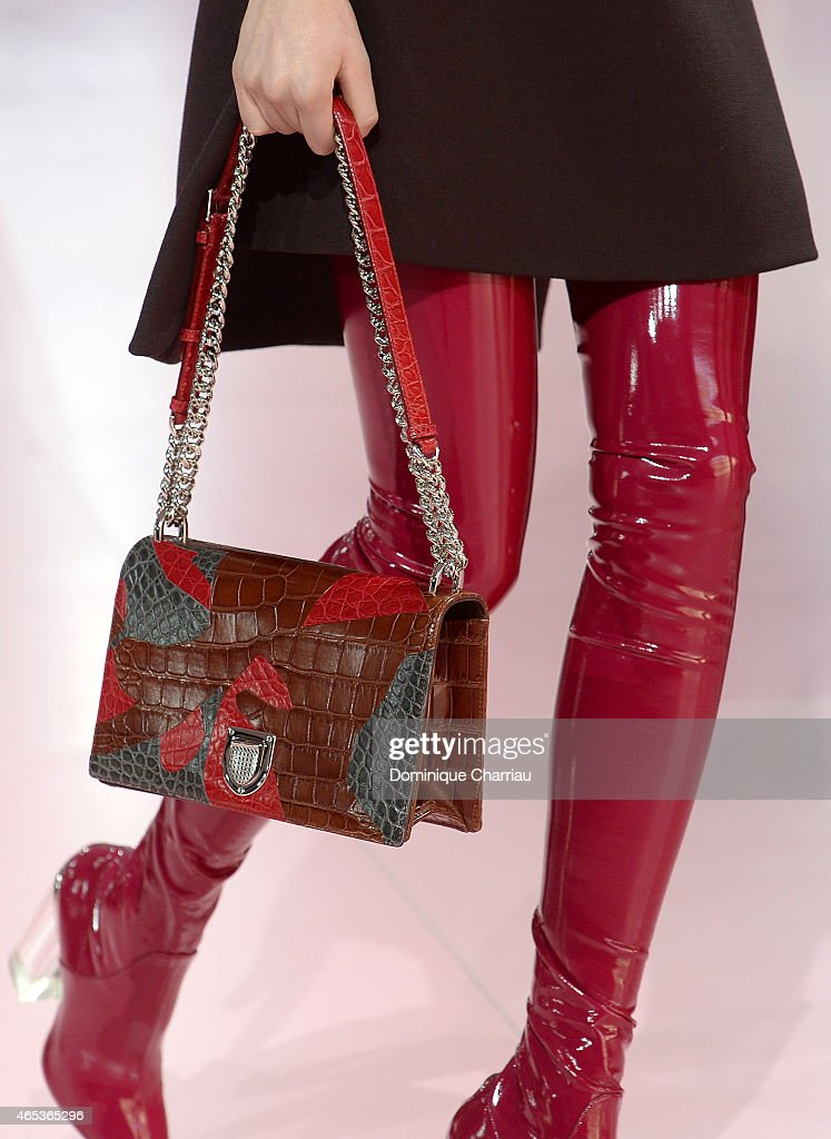 Details of a bag on a model walking the runway during the Christian Dior show as part of the Paris Fashion Week Womenswear Fall/Winter 2015/2016 on...
