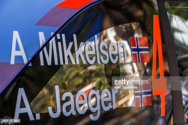Details of Andreas Mikkelsen and codriver Anders Jaener of Hyundai Motorsport following completion of the Rally de Espana round of the 2017 FIA World...