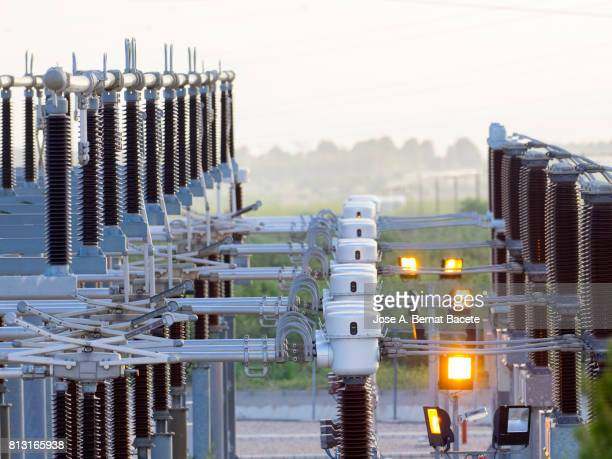 Details of cables, electrical components and towers of high tension, of an electric power station