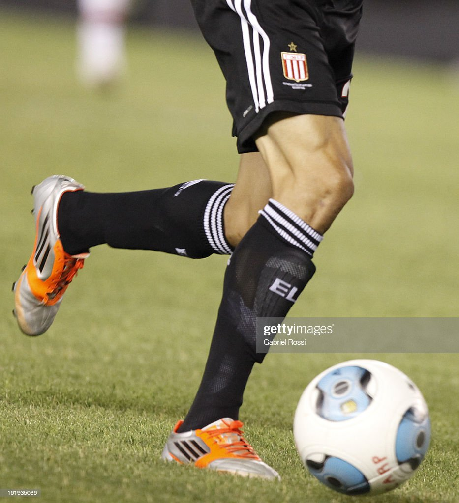 Details of Carlos Auzqui shoes of Estudiantes during the match between River Plate and Estudiantes of Torneo Final 2013 on February 17, 2013 in Buenos Aires, Argentina.