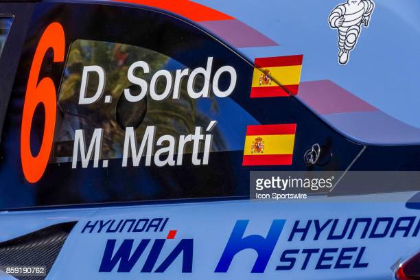Details of Dani Sordo and codriver Marc Marti of Hyundai Motorsport following completion of the Rally de Espana round of the 2017 FIA World Rally...