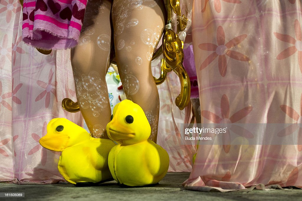 Details of duck features shoes of one memeber of Academicos Do Grande Rio during the parade featured on the petroleum industry of Rio de Janeiro, at Sambodrome Marques de Sapucai on February 12, 2013 in Rio de Janeiro, Brazil.