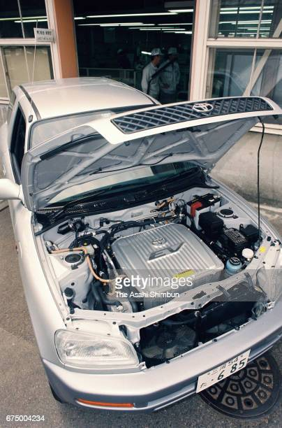 Details of engine under the food of the Toyota Motor Co's electric vehicle prototype on April 18 1997 in Nagoya Aichi Japan