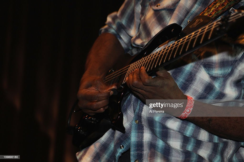 Details of his hands as Guitarist <a gi-track='captionPersonalityLinkClicked' href=/galleries/search?phrase=Vernon+Reid&family=editorial&specificpeople=626078 ng-click='$event.stopPropagation()'>Vernon Reid</a> and Living Colour performs during The Million Man Mosh II at the Highline Ballroom on January 21, 2013 in New York City.