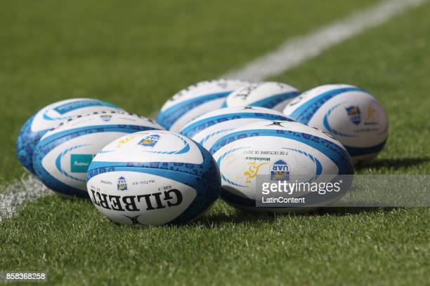 Details of matchball during the Australia Rugby Championship Captain's Run ahead of the match against Argentina at Islas Malvinas Stadium on October...