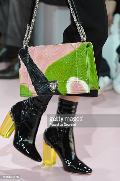 Details of shoes and bag on a model walking the runway during the Christian Dior show as part of the Paris Fashion Week Womenswear Fall/Winter...