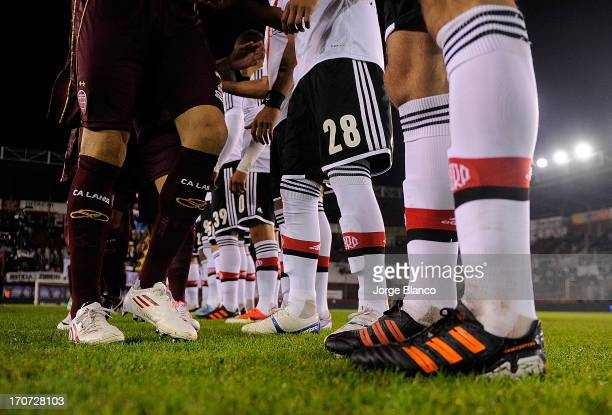 Details of shoes during a match between Lanus and River Plate as part of the 18th round of the Torneo Final 2013 at Ciudad de Lanus stadium on June...