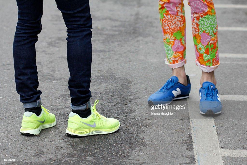 Details of shoes during Milan Fashion Week on January 15, 2013 in Milan, Italy.