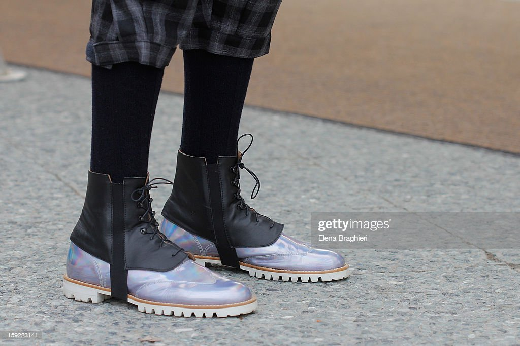 Details of shoes of designer Francesco Ferrari during the Pitti Immagine Uomo 83 on January 9, 2013 in Florence, Italy.