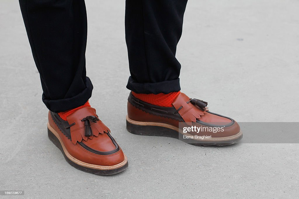 Details of shoes of stylist Peter Cardona during the Pitti Immagine Uomo 83 on January 9, 2013 in Florence, Italy.