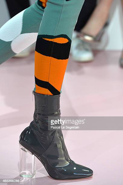 Details of shoes on a model walking the runway during the Christian Dior show as part of the Paris Fashion Week Womenswear Fall/Winter 2015/2016 on...