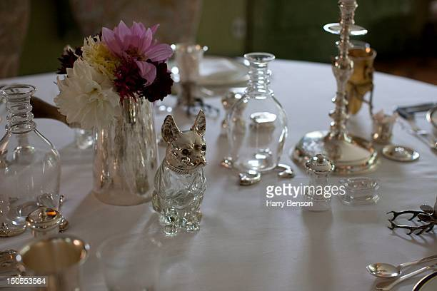 Details of the dining room table setting at Templeton Cornelia Guest's family home in Old Westbury NY in September 2011
