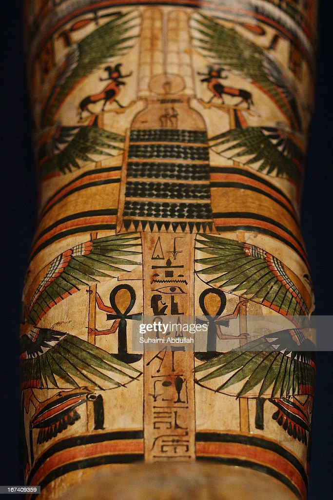 Details of the mummy of Nesperennub in cartonnage case is seen during a media preview of the Mummy: Secrets of the Tomb exhibition at ArtScience Museum on April 25, 2013 in Singapore. The exhibition includes more than 100 artifacts and six mummies from the heralded ancient Egyptian collection of the British Museum. Among the mummies displayed is the Egyptian temple priest, Nesperennub who lived 3,000 years ago. The exhibition will run from April 27 till November 4, 2013.