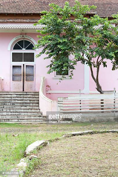 Details of the restored Colonial architecture of the Roca Boa Vista Sao Tome Sao Tome and Principe are two islands of volcanic origin lying off the...