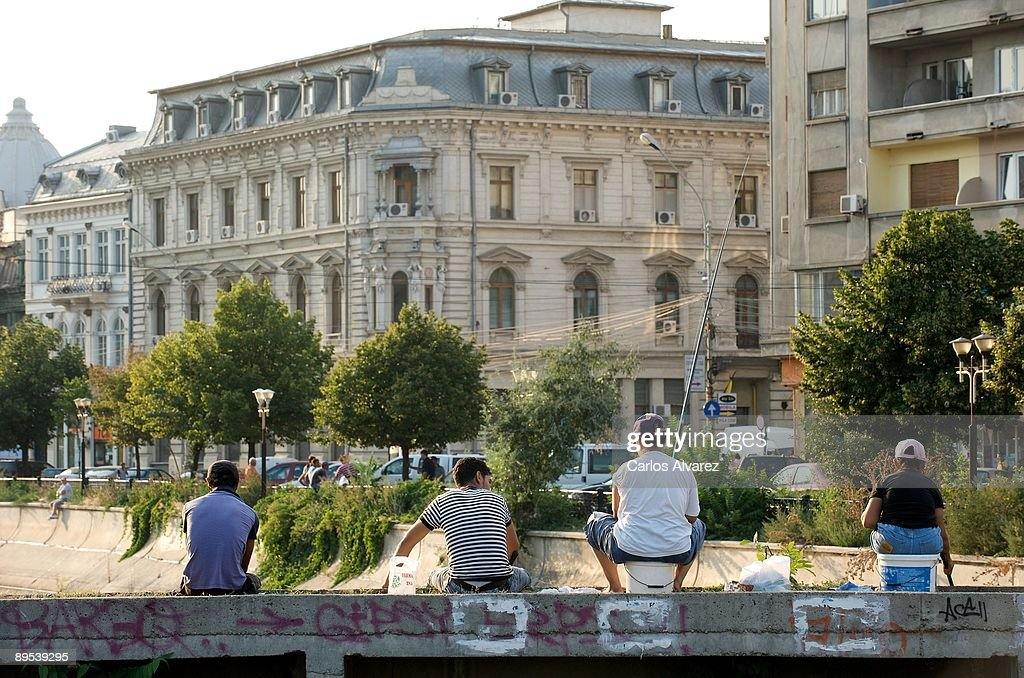 Details of the river in Piata Unirii square on July 29, 2009 in Bucharest, Romania.