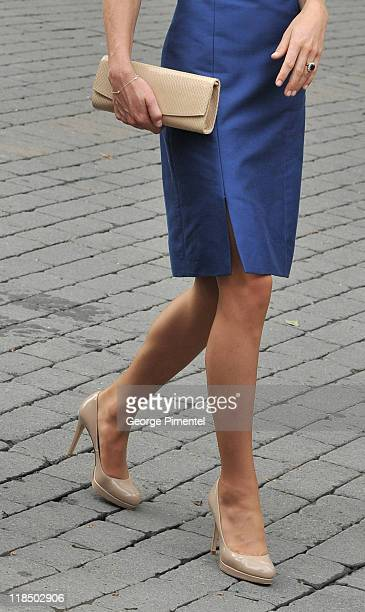 Details of the shoes of Catherine Duchess of Cambridge at the Freedom of the City Ceremony outside City Hall on July 3 2011 in Quebec Canada