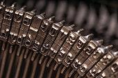 Details on antique typewriter. Vintage and retro