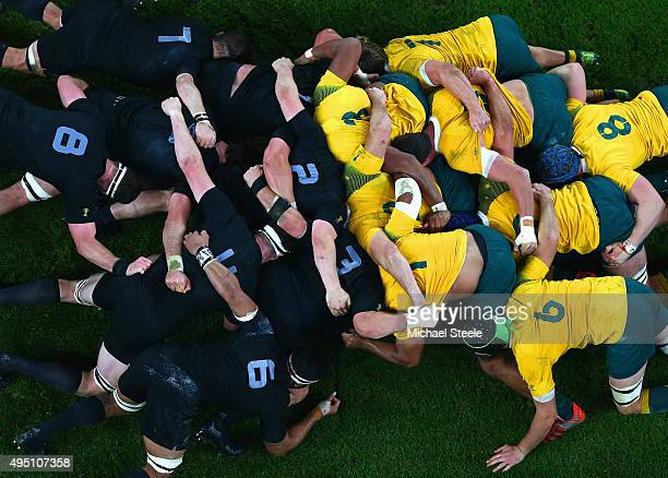 details shot of a scrum from Australia and New Zealand All Blacks during the 2015 Rugby World Cup Final match between New Zealand and Australia at...