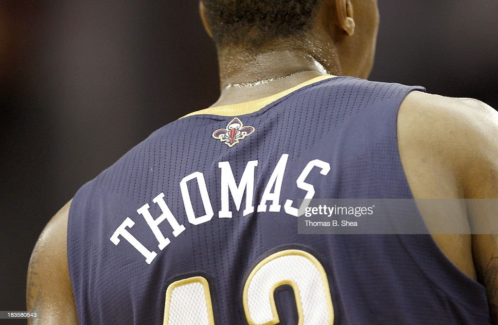 A details shot of the back of the jersey of Lance Thomas #42 of the New Orleans Pelicans while playing against the Houston Rockets in a preseason NBA game on October 5, 2013 at Toyota Center in Houston, Texas. The Pelicans won 116 to 115.