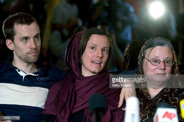 Detained American citizens Shane Bauer and Sarah Shourd sits with Sarah's mother Nora Shourd during their first meeting since their arrest on May 20...