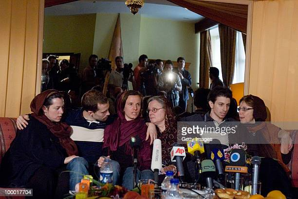 Detained American citizens Shane Bauer Sarah Shourd and Josh Fattal sit with their mothers during their first meeting since their arrest on May 20...