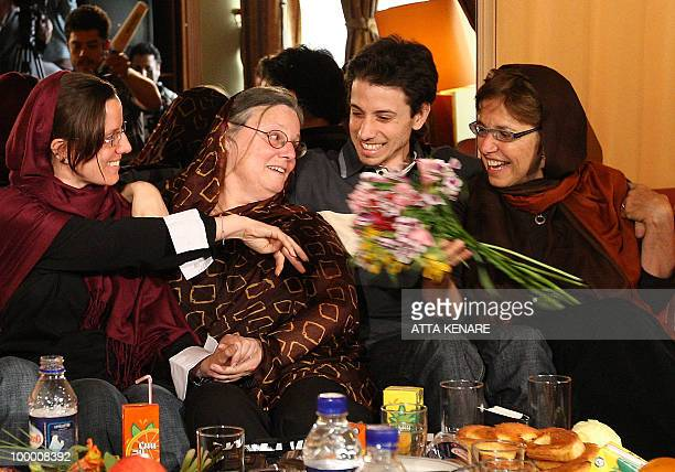 Detained US hikers Sarah Shourd and Josh Fattal sit with their mothers Nora and Laura during their first meeting since their arrest in the Iranian...
