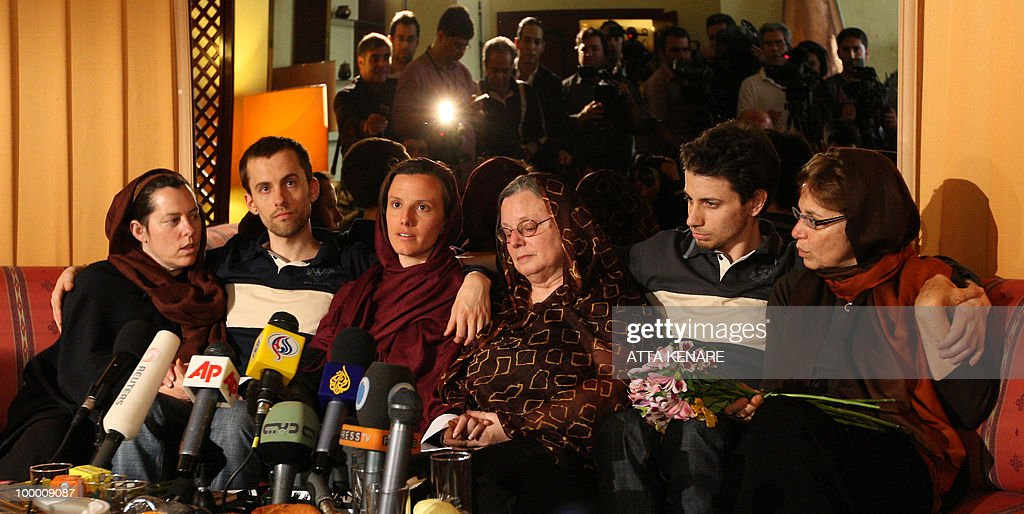 Detained US hikers Shane Bauer (2nd-L), Sarah Shourd (C-L) and Josh Fattal (2nd-R) sit with their mothers during their first meeting since their arrest, in the Iranian capital Tehran on May 20, 2010. The mothers of three US hikers detained for 10 months in Iran called for their release as a 'humanitarian gesture' after an emotional reunion with their children, an AFP correspondent said.