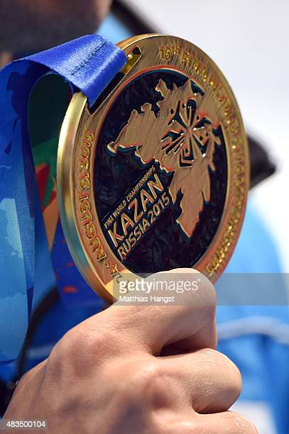 A detalied view of the Gold medal of Gregorio Paltrinieri of Italy poses during the medal ceremony for the Men's 1500m Freestyle Final on day sixteen...