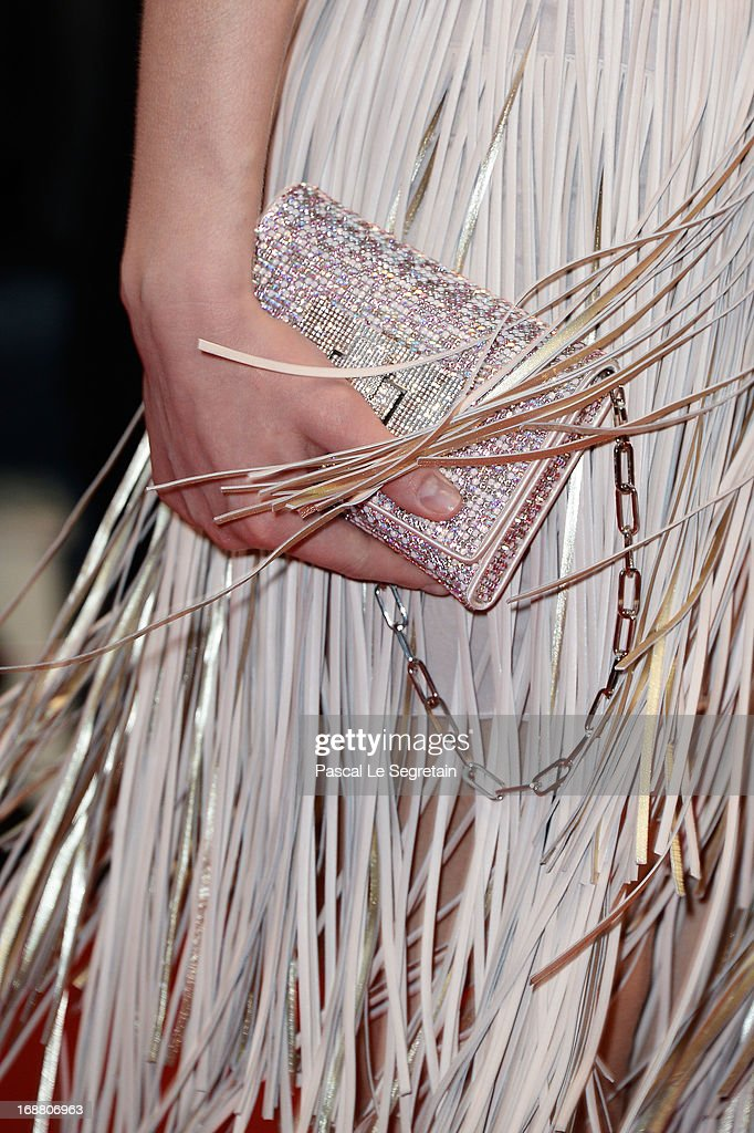 A deteail view of the dress worn by french model Sarah Marshall as she attends the Opening Ceremony and 'The Great Gatsby' Premiere during the 66th Annual Cannes Film Festival at the Theatre Lumiere on May 15, 2013 in Cannes, France.