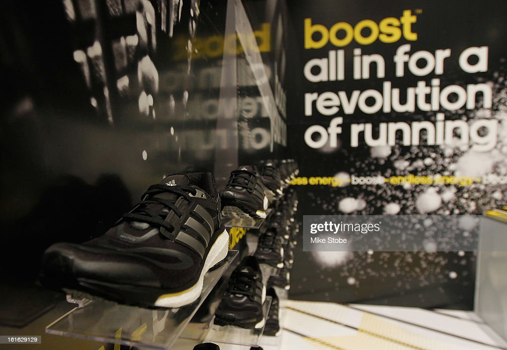 A deteailed view of the adidas Energy Boost sneaker at the Jacob K. Javits Convention Center on February 13, 2013 in New York City.