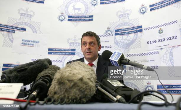 Detective Chief Inspector Michael Hanlon from Bedfordshire and Hertfordshire Major Crime Unit speaks at a press conference at Hertfordshire Police...