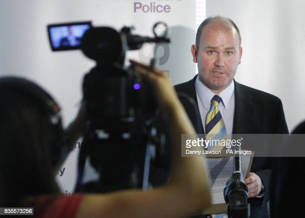 Detective Inspector Stuart Hood makes a statement during a press conference at Lothian and Borders Police HQ in Edinburgh following the sentencing of...