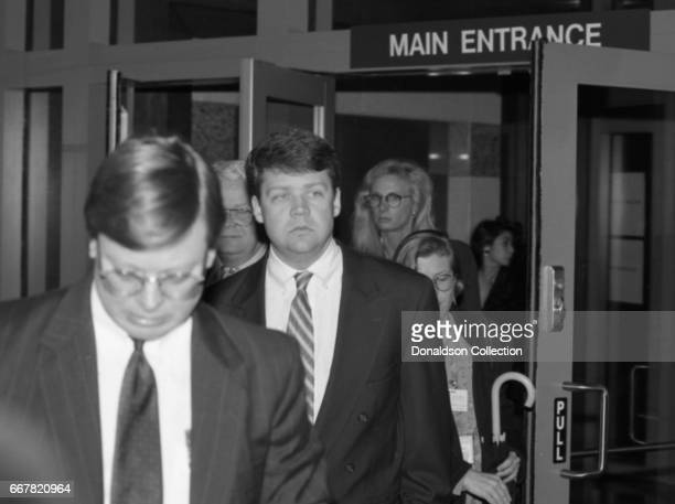 Detective Laurence Powell leaves the Edward C Roybal Federal Building during his trial for violating Rodney King's civil rights in federal court for...