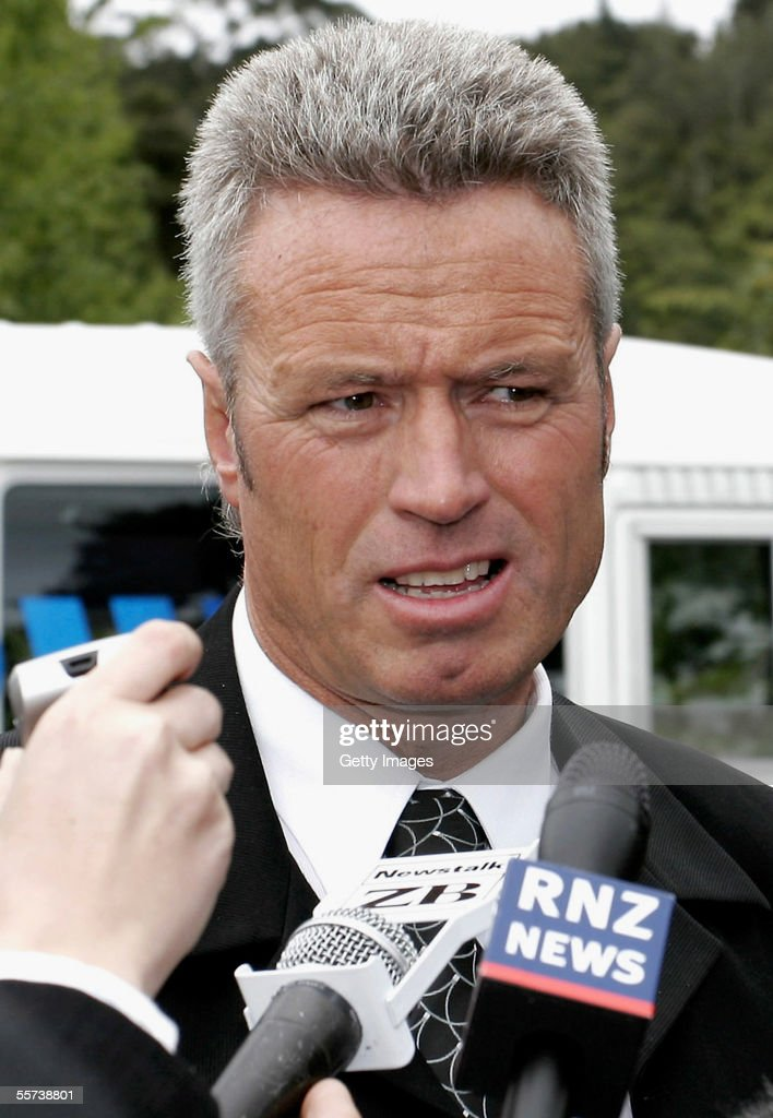 Detective Senior Sergeant Grant Coward from the New Plymouth Police hold a news conference September 22 2005 in Oakura New Zealand Police continue to...