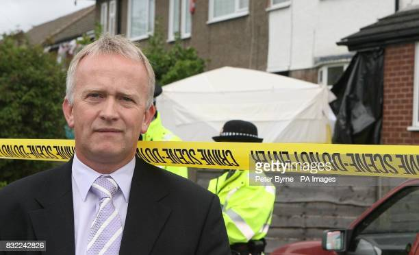Detective Superintendent Martin Bottomley of Greater Manchester Police outside the house in Turves Road in Cheadle Hulme Manchester where a mother...