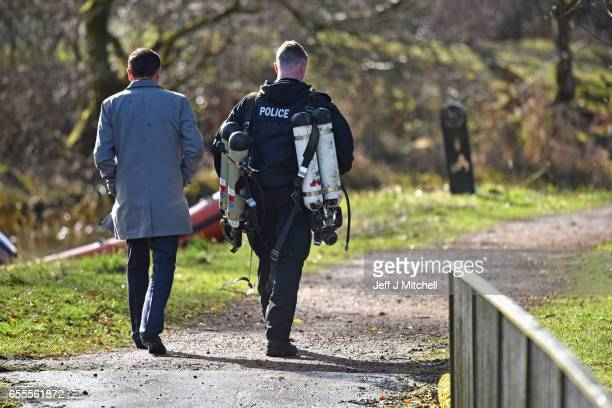 Detective superintendent Pat Campbell watches on as Police Scotland divers search a cannal stretch for a eleven year old schoolgirl Moira Anderson on...