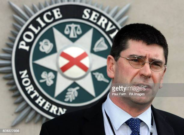 Detective Superintendent Simon Barraclough speaks to the press at Police headquarters in Belfast Thursday February 16 after a secondhand car salesman...