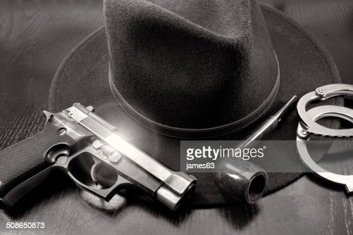 detective team, semiautomatic pistol handcuffs hat and pipe : Stock Photo