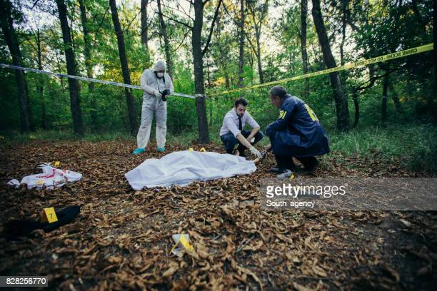 Detectives and forensics on crime scene