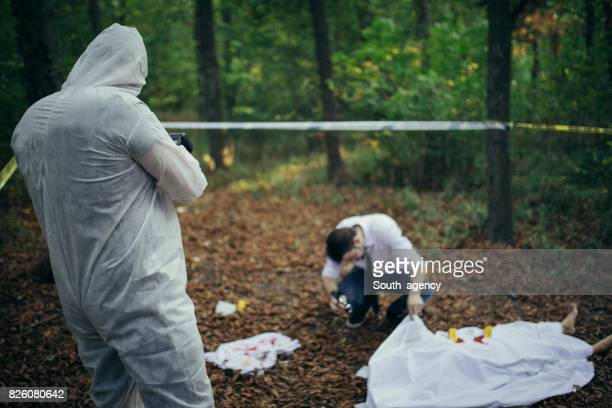Detectives working on a crime scene