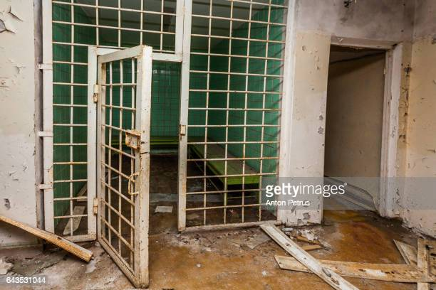 Detention cell  in the police station. Prypiat, Ukraine